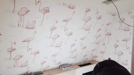 Mulberry avenue Chelsea private house  - wallcovering installed in bathroom and waterproofed  with resin